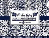 20 FREE SEAMLESS VECTOR VINTAGE PATTERNS