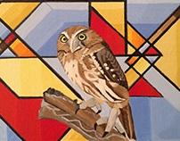 PIGMY OWL/ GEOMETRIC ABSTRACT.