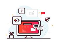 Digital Marketing Illustration, Icons, Web, SEO, SMO