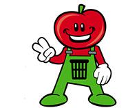 Mascote Lixo Orgânico e Lixo Reciclável