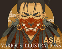 various illustrations. asia