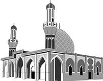 Vector art of mosque in Iraq
