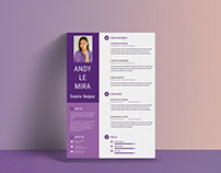 Free Purple Resume Template PSD