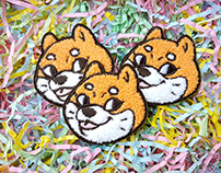 Blep Doggo - Shiba Inu enamel pins and patches