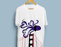 Skateboarding Octopus Illustration