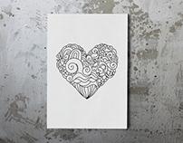Ornamental zen doodle hearts coloring sheets