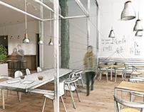 """Pas blanche"" (z fr. nie biała)- projekt kawiarni ..."