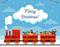 Christmas toy train - vector illustration