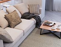 White studio apartment+VR panorama