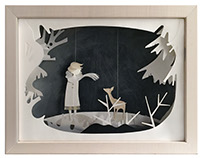 By a Thread (Girl & Fawn). Paper-cut illustration.