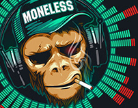 Music fan hipster monkey. DJ chimpanzee