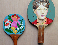 """Painted paddles, props for Aust TV series """"Offspring"""""""