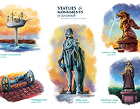 Spot Illustration! Statues & Monuments of Savannah