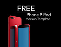 Red iPhone 8 Mockup Floating | FREE DOWNLOAD