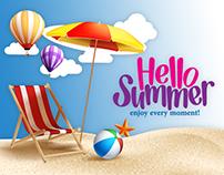 HELLO SUMMER BANNER FREE PSD