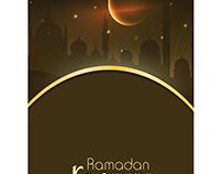 Vector ramadan kareem calligraphy brown template