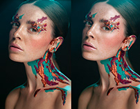 Retouching Using Frequency Separation Color Grading