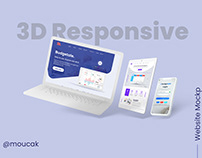 FREE 3D Responsive website design mockup