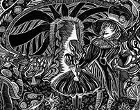 Scratch Board Illustration Alice in Wonderland