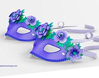 Floral Venetian Half-Face Masks Mockup
