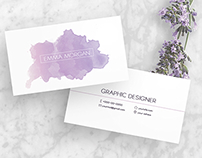 Purple Watercolor business card template
