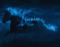 Blue fire horse