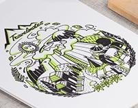 Bromo Travel Mates T-shirt Illustration