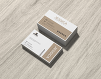 Free Brand Business Card Mockup on Wood
