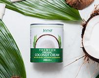 Label design for Jeeva Organic Coconut Cream & Flour