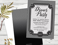 Black & White Patterns 5x7 Dinner Party (series)