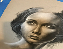 Chalk black and white portrait