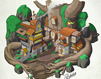 Tree houses illustration