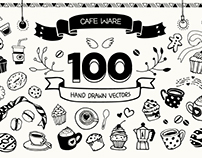 Cafe ware Hand drawn icons