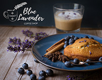 Blue Lavender Coffee Shop logo, branding