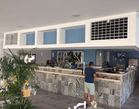 HOTEL pool restaurant indoor cooling installation