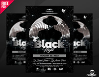 Black Night Club Flyer PSD