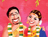 Caricature Illustrated Wedding Invitation Design.