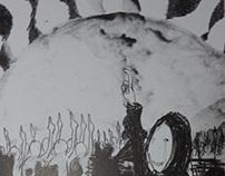 『赤が沈む』への習作(リトグラフ) Study to Mr.Hata Motohiro's Opus 赤が沈む