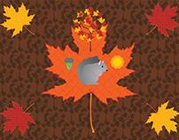 Grey Squirrel Autumn Pattern