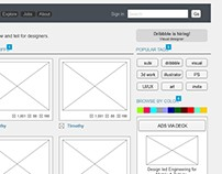 Wireframe [Dribbble home page]