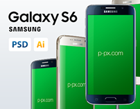 Galaxy S6 Vector PSD + Ai Mockup (All colors, 3 Views)