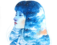 Cosmos and the Sky Watercolor Portraits