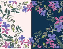 water colored hand drawn floral designs with mokeups
