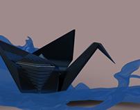 Origami Bird in Water