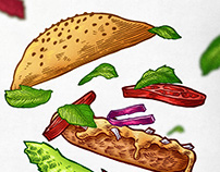 Marvin's Burgers food illustration