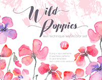 Wild Poppies - Watercolor Set + one FREE pattern