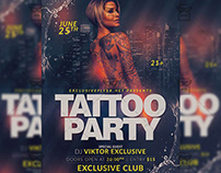 Tattoo Party Flyer - Club A5 Template