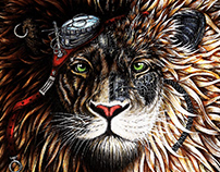 Selection of paintings and drawings of lions 2014-2015