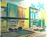 Oceanfronthouse illustration