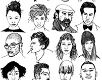 A series of hand drawn black and white ink portraits